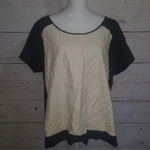 Lane bryant black and cream blouse exposed zipper